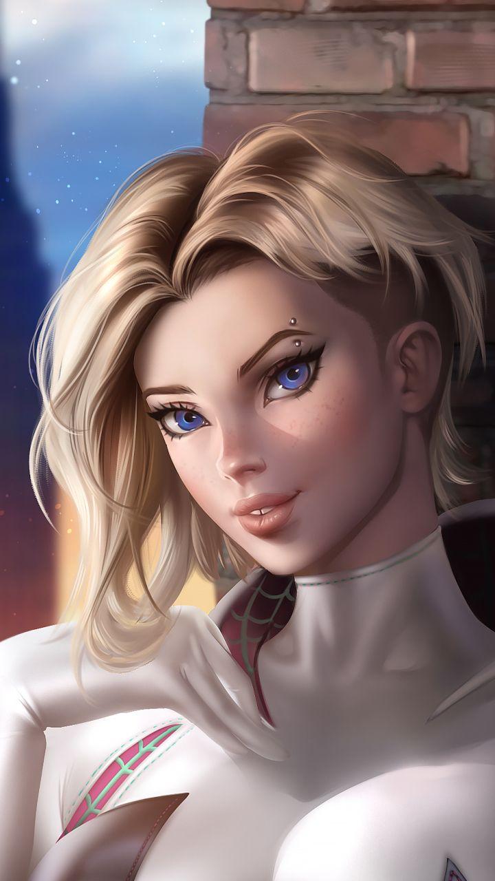 Comics Spider-Gwen Blonde Blue Eyes Marvel Comics Short Hair (720×1280) Mobile W…