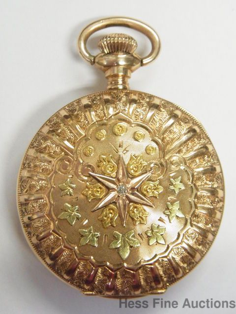 Awesome Multicolor 14k Gold Diamond Antique Elgin 100 Year Old Pocket Watch #Elgin
