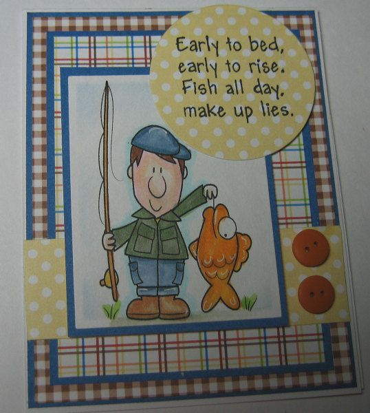 Happy Fishing Fun Verse Handmade Card by ...