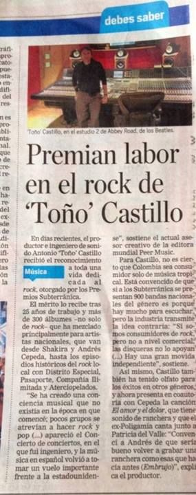 El Tiempo Toño Castillo