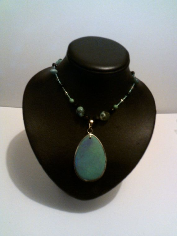 Handmade for you by Jcre8tions: Large Semi Precious Turquoise Teardrop Beaded Necklace $60 on Etsy. Free Australia wide postage use coupon code MERRYCHRISTMAS at checkout
