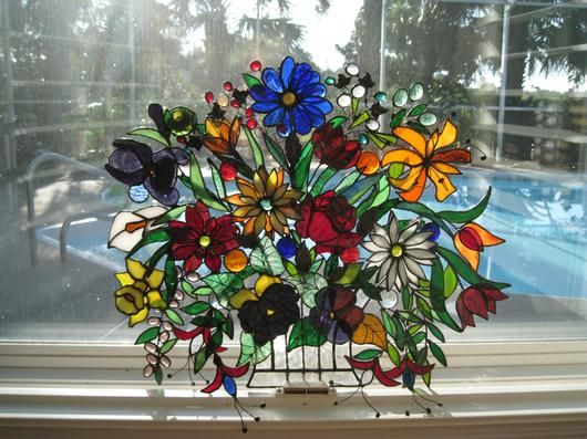 Stained Glass Fusing | Fused, Mosaic & Stained Glass Creations / Basket Of Flowers - Delphi ...