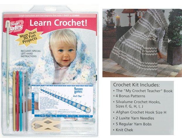 Susan Bates: Learn Crochet! Kit /1set Cocok untuk bagi pemula yang ingin belajar crochet KIT ini terdiri dari : -5 buah crochet hooks, ukuran F, G, H, I, J (ukuran USA) -1 buah Afghan hooks, ukuran H -2 buah jarum untuk benang -Stitch gauge (patokan untuk mengukur jarum hakken) -Buku petunjuk cara instruksi dan beberapa contoh project (membuat scarf, topi, boneka, afghans, dll ), serta teknik pembuatan seperti Hairpin lace, tunisian crochet, dan crochet knit.  #id15083