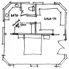 Need inspiration pictures of bathroom/walk-in combo along the lines shown in blueprints. Whole master area is 21 X 21 so the bathroom/closet is 10 X 21 or two rooms of about 10X 10 each. Would like bathroom/ closet to feel like one room but with separation for privacy. Appreciate any photo layout id