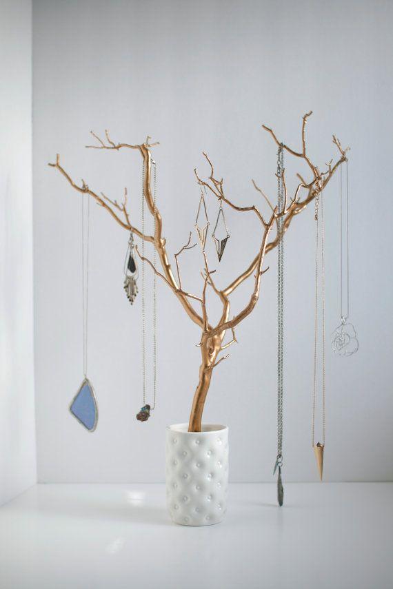 Organizador oro joyería titular árbol pintado por BluRavenDesigns