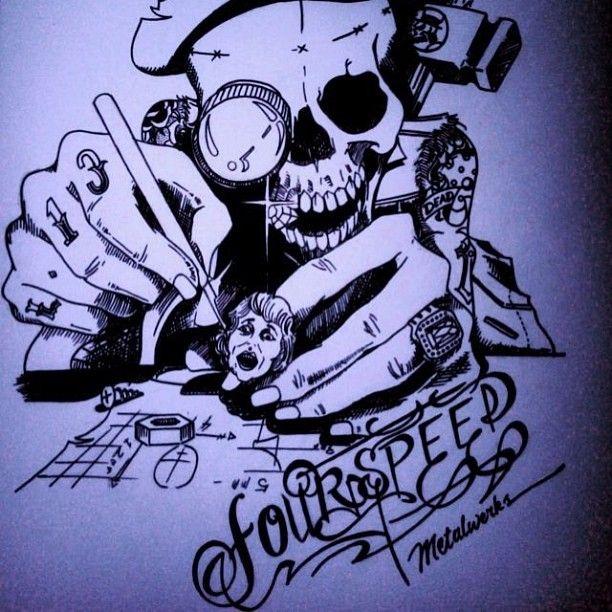 avrilliarts photo #fourspeedmetalwerk #ink #pencil #cansonpaper #skullartskulpting