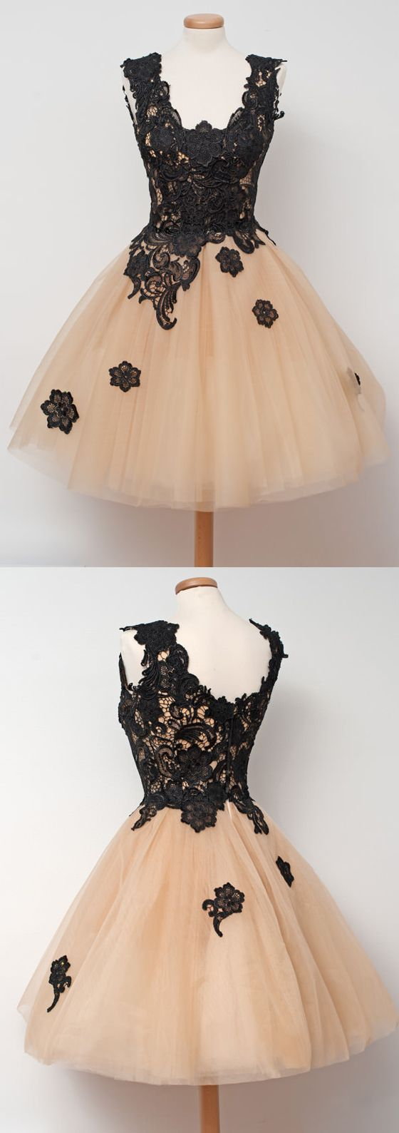 Black Applique Lace Champange Lovely Cheap Short Homecoming Dresses, WG807 The homecoming dresses are fully lined, 8 bones in the bodice, chest pad in the bust, lace up back or zipper back are all ava