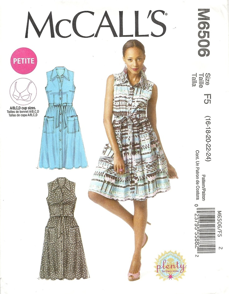 McCall's 6506 Plenty by Tracey Reese Shirt dress with A/B, C and D cup sizes (sizes 16-24). 2012. 99c from Hobby Lobby sale. Made into Viva Las Vegas Elvis dress for Sew Weekly challenge wk 15: http://www.sewweekly.com/2012/04/the-viva-las-vegas-elvis-shirt-dress/