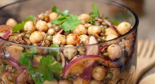 salade de lentilles et pois chiches à la mexicaine _ recette de Blog