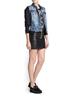 MANGO - NEW - Buckle leather miniskirt