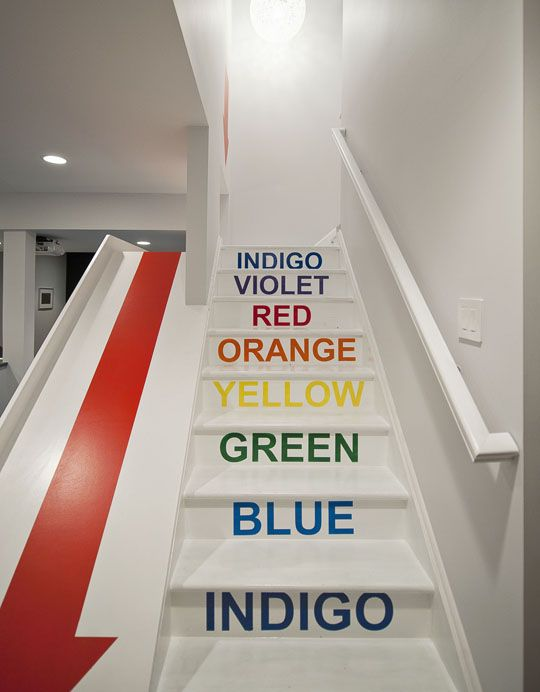Ultimate basement entry via NovogratzDiy Ideas, Basements Playrooms, Modern Chairs, Rainbows Colors, Basements Stairs, Plays Area, Plays Room, Danishes Modern, Indoor Sliding