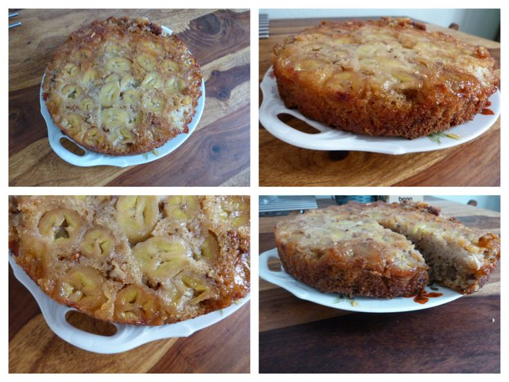 Cake with caramelized bananas , ginger and cinnamon