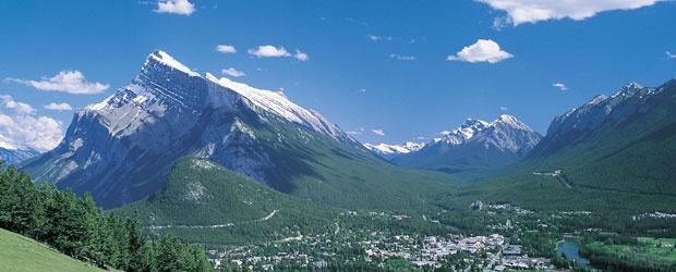 Rundle mountain and Tunnel mountain in Banff, Alberta, Canada