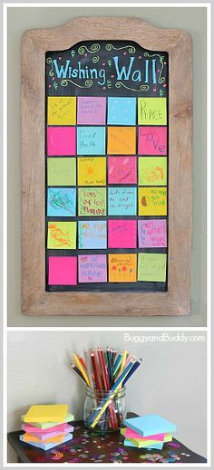 Perfect activity for New Year's Eve for kids! Create a DIY wishing wall for New Year's Eve!