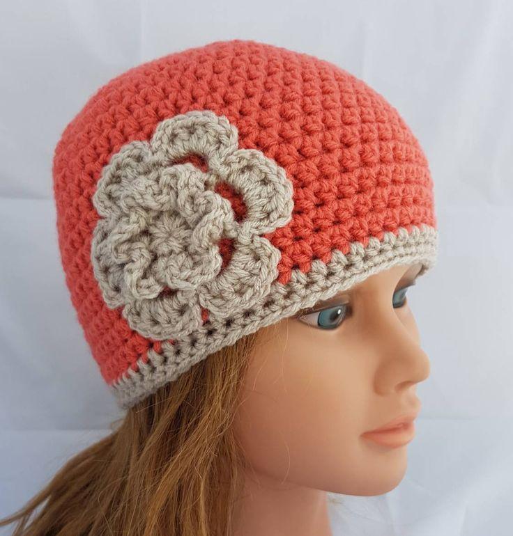 womens crochet hat, woman hat, girls crochet hat, beanie, vegan friendly hat, hat with flower, girl beanie, orange beanie, flower beanie by crochetHQ on Etsy