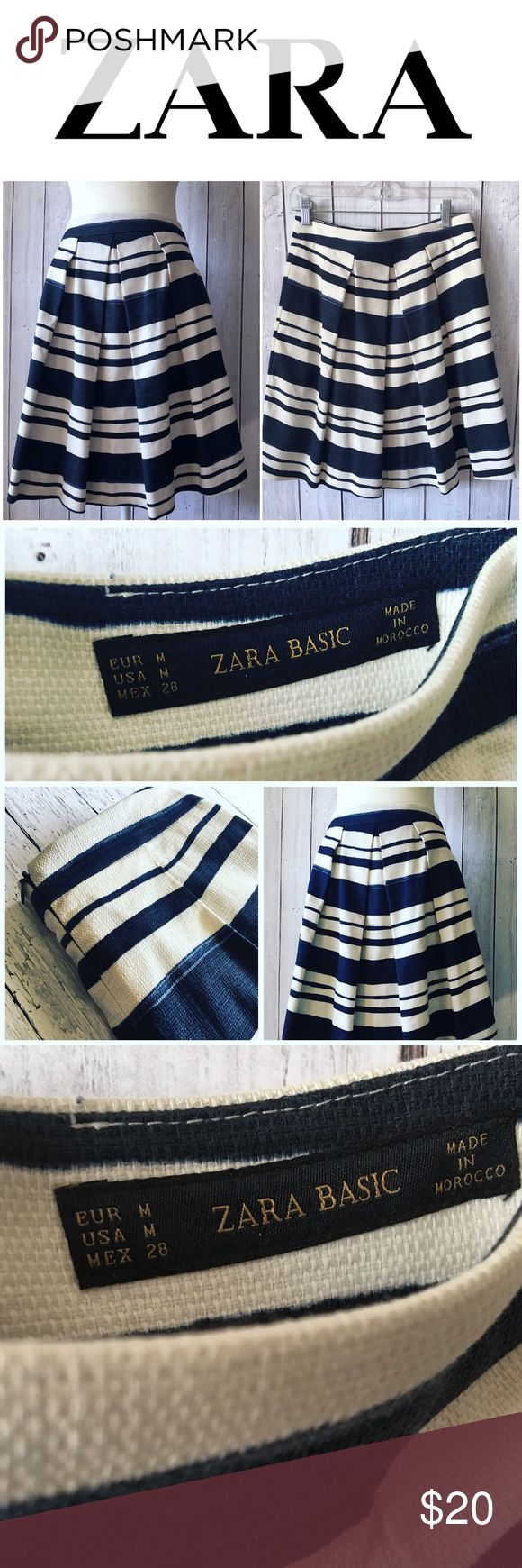 "ZARA basics navy striped skirt, zip back, cute! ZARA basics collection Navy Striped skirt, zip back, 21"" long, size medium, 14"" flat across waist. Excellent condition!👌🏼 Zara Skirts Midi"