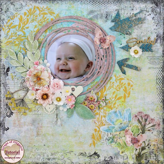 Scraps of Elegance scrapbook kits video tutorial: Mixed Media Baby Layout w/our May2017 Mix'd Media Kit, by Tracey Sabella