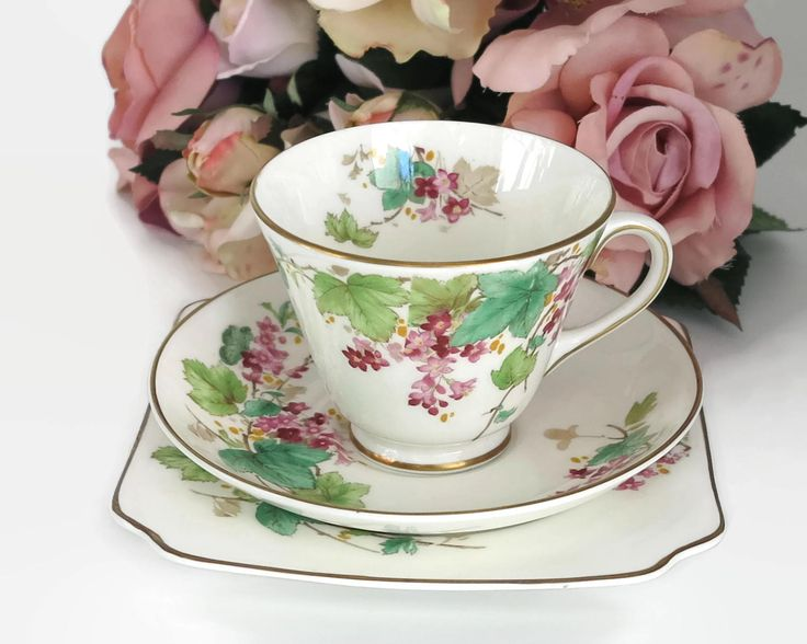 Vintage Royal Doulton cup, saucer, and plate with pattern of pink flowered vine, Gillian pattern, gilt trim, England, circa 1950s by CardCurios on Etsy