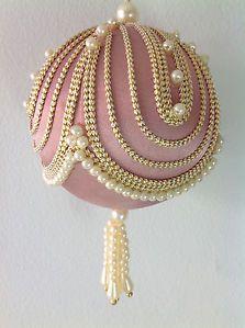 8 Vintage Victorian Christmas Tree Ornaments Pearls Satin Beaded Style Large