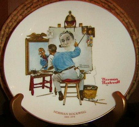 Triple Self Potrait Plate by Norman Rockwell by DeerRidgeVintage, $11.99
