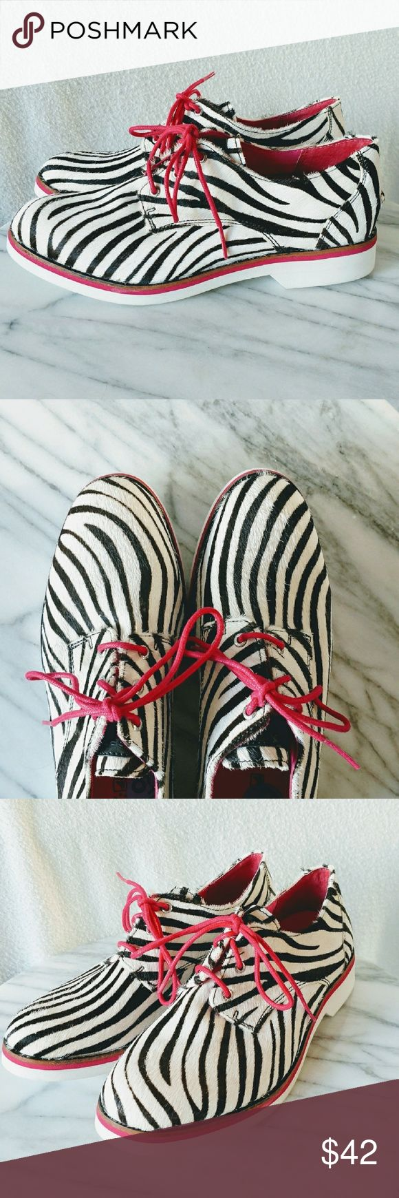 Sperry Zebra Pony Hair Leather & Hot Pink Shoes These unique shoes have a pony hair leather exterior with zebra stripes and hot pink shoe laces to top them off!  Tags: sperry, top-sider, top Sider, zebra stripes, black and white, hot pink, shoe laces, horse hair, pony hair, leather, new, cute, rocker chic, hipster, flats, lace ups, designer Sperry Top-Sider Shoes