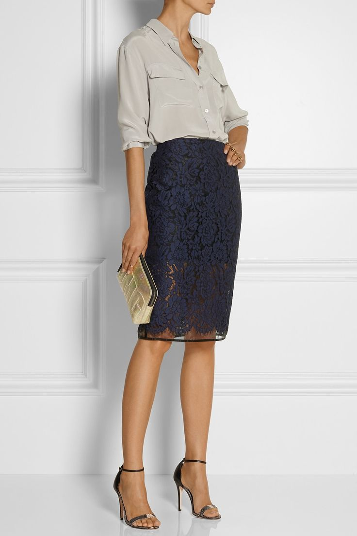 MSGM Lace and organza pencil skirt $330 EDITORS' NOTES & DETAILS MSGM's pretty pencil skirt is layered with sheer midnight-blue lace and black organza. This fitted style is lined to just above the knee for a contemporary peekaboo effect. Wear yours with a loose shirt and simple sandals.