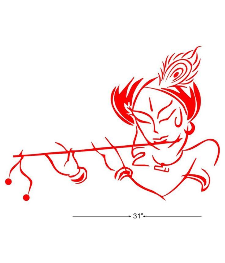 Line Art Radha Krishna : Studio briana krishna with flute line vector art wall
