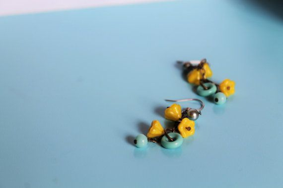 Vintage Yellow Bloom Cluster Dangle by comeandplaybetsymay on Etsy