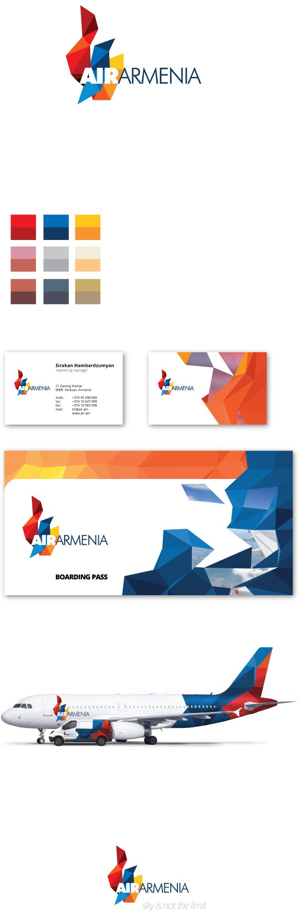 Air Armenia re-branding proposal by Vahan Balasanyan, via Behance