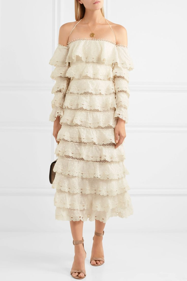 Zimmermann | Tiered lace and cotton and silk-blend gauze dress | NET-A-PORTER.COM