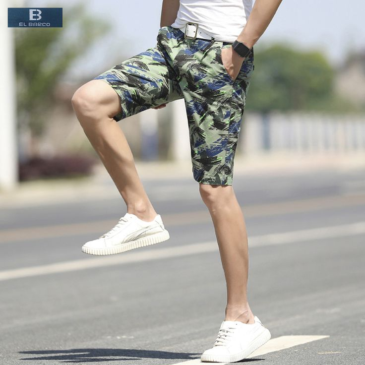 >> Click to Buy << [EL BARCO] 2017 New Print Cotton Summer Casual Shorts Men Beach Bermuda Knee-Length Camouflage Green Grey Red Male Board Shorts #Affiliate