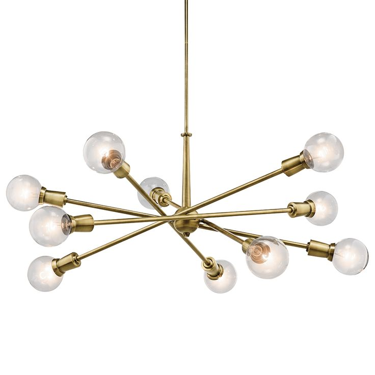 Brass Sputnik Chandelier: Kichler Armstrong 8 & 10 Light Chandelier - Brass,Lighting