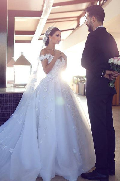 White Organza with Flowers Cathedral Train Wedding Dresses,Ball Gown Bridal Dresses,APD2015