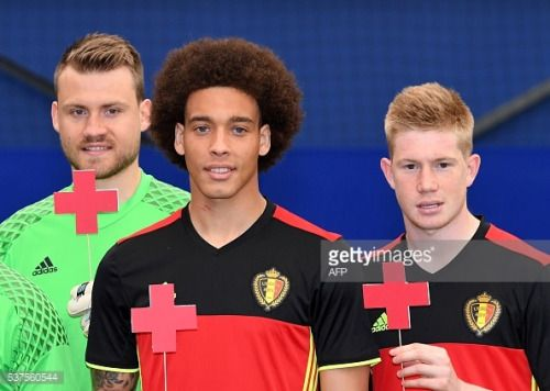 Belgium football players (LtoR) Simon Mignolet, Axel Witsel and... #dunavatudejos: Belgium football players (LtoR) Simon… #dunavatudejos