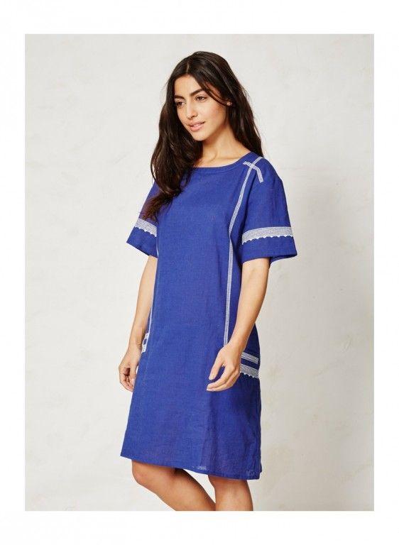 KARIMA letní tunika z konopí a biobavlny - modrá s bílou výšivkou - fair trade oblečení z biobavlny, bambusu, konopí, modalu, tencelu a merino, přírodní kosmetika, bambucké máslo, fairtrade bytové doplňky