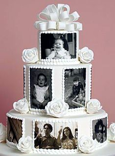 How I would love to have a cake like this for our 25'th wedding party next year with photos from us & the children.