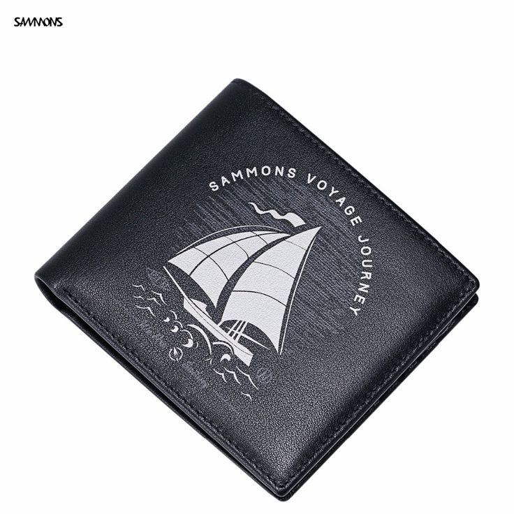 2017 SAMMONS New Brand Design Fashion Printing Fold Genuine Cow Leather Men Black Short Wallet Cards Holder