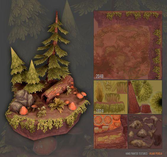 ArtStation - Hand Painted Forest Scene, Vilma Pekola: