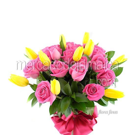 Florerias Polanco Tulipanes Amarillos y Rosas Gold Aqua !| Envia Flores