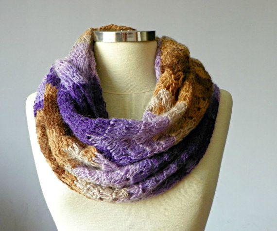 Crochet Cowl Scarf Neck Warmer lilac  purple  camel by yarnisland, $30.00