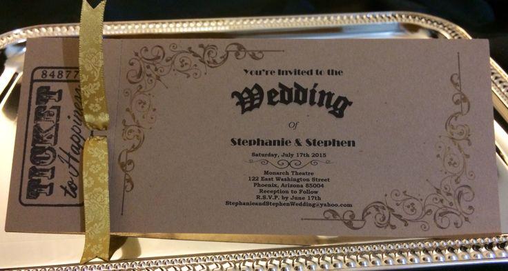 Vintage Movie Ticket Wedding Invitation