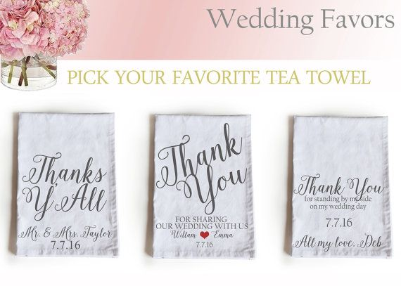 Wedding Favor Tea Towels Kitchen Towels by AmoreBeaute on Etsy