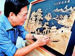 Chinese Cork Painting/ Carving