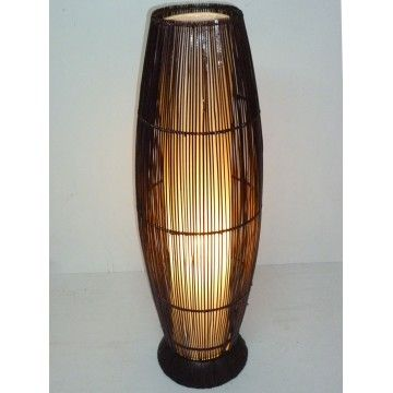 Rattan lamp with Lined Cylinder Cream 80cm