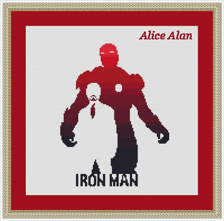 Iron man silhouette superhero Comics TV series films от HallStitch