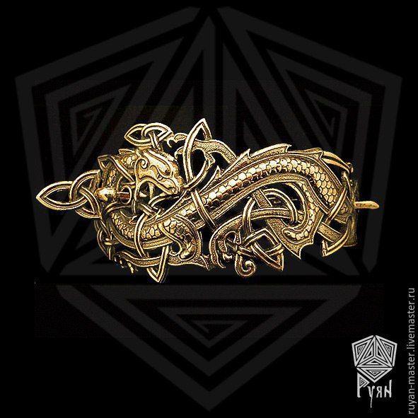 """Купить Заколка """"Кельтский дракон"""" - серебряный, бронза, бронзовый, серебряные украшения, заколка для волос, заколка"""