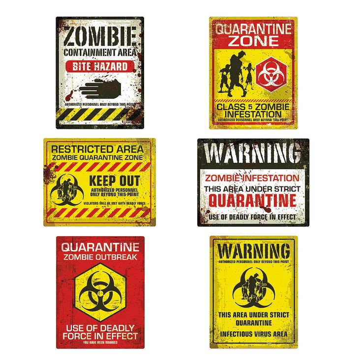 hang these posters up at your next zombie party or halloween party this set features six unique zombie designs for the ultimate zombie party decorations - Zombie Halloween Decorations
