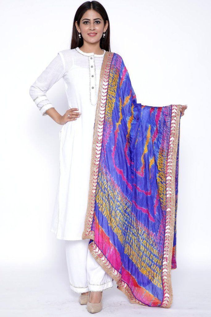 c1d64fe3fe White Gota Kurti with Palazzo and Blue Pink Tie   Dye Dupatta