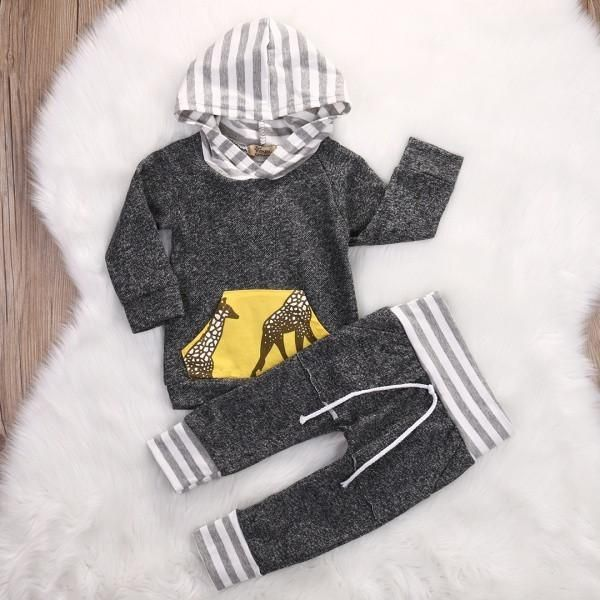 Spring Autumn 2017 Kids Clothes Baby Boys Girls Tracksuit Long Sleeve Pullover T-shirt Tops+Pants