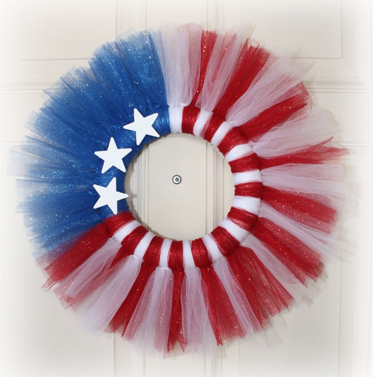 Patriotic Glittery Tutu Wreath